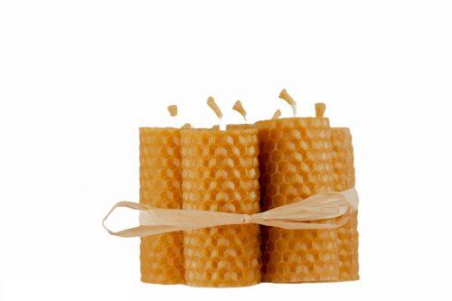 Bougies artisanales en cire d'abeille 100% naturelles.